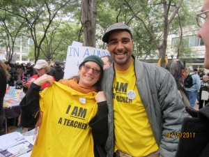 Jesse Hagopian with his kindergarten teacher Joby Moore at an Occupy Seattle demonstration