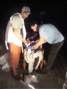 Here Jesse (left) is shown bandaging a badly injured Haitian women hours after the earthquake struck on January 12th, 2010.