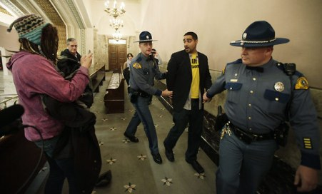 Jesse was arrested in November, 2012 while attempting a citizens arrest of the Washington State Legislature when they announced a $2 billion cut to health and education--citing the Washington State Constitution that mandates education as the