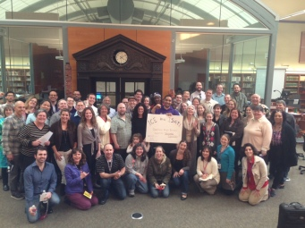 Garfield High School staff gather in solidarity with Saucedo Elementary's boycott of the ISAT.